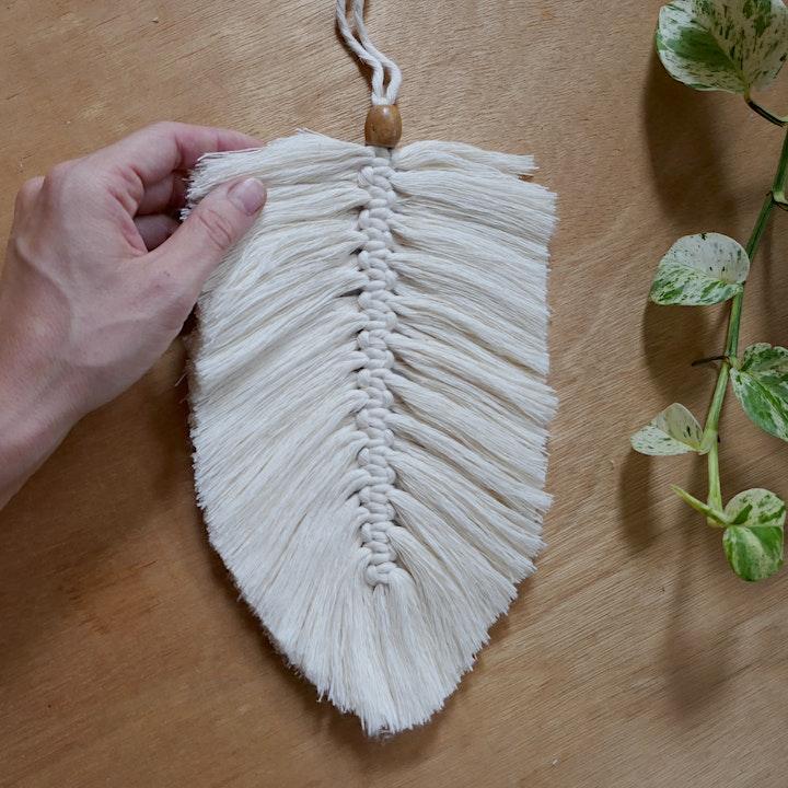 Macrame Feather Wall Hanger - beginner level image