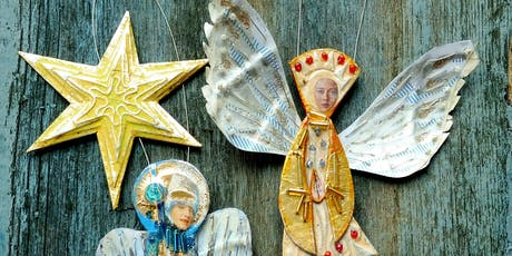 Mixed media festive stars and angels with Hannah Coates - Creative workshop for adults //  tickets