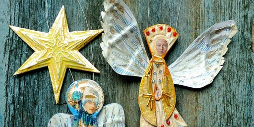 Mixed media festive stars and angels with Hannah Coates - Creative workshop for adults //