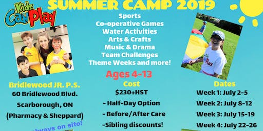 Kidz Can Play Inc. SUMMER CAMP - WEEK 4