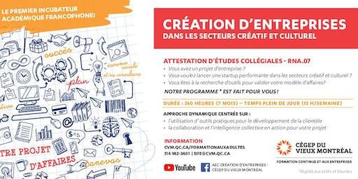 Séance d'information | AEC Création d'entreprises dans les secteurs créatifs et culturels