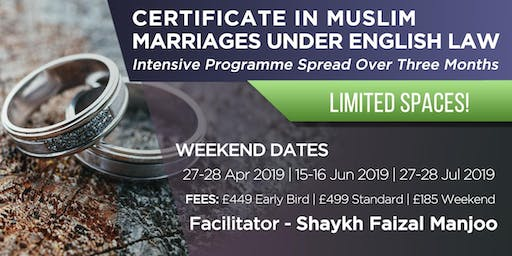 CERTIFICATE IN MUSLIM MARRIAGES UNDER ENGLISH LAW