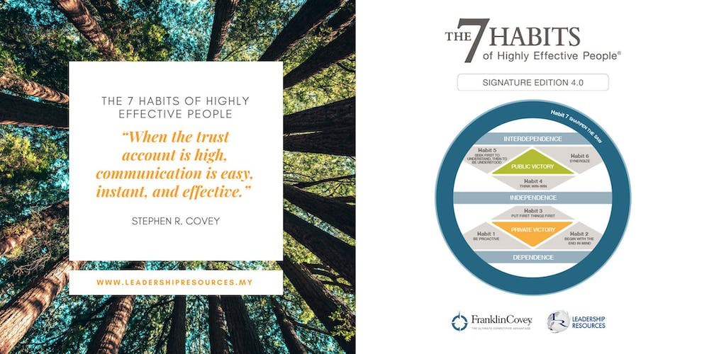 The 7 Habits Of Highly Effective People 21 23 October 2019