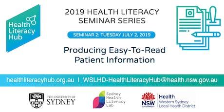 Seminar 2: Producing Easy-To-Read Patient Information tickets