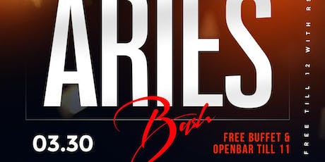 #PowerSaturdays The Big Aries Bash +Free Buffet + Openbar Till 11  tickets
