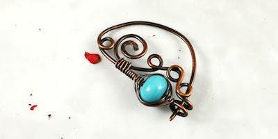 Wire Wrapped Copper Fibula (aka Scarf Pin)