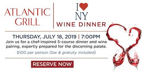 Atlantic Grill I Love NY Wine Dinner- New York, NY tickets