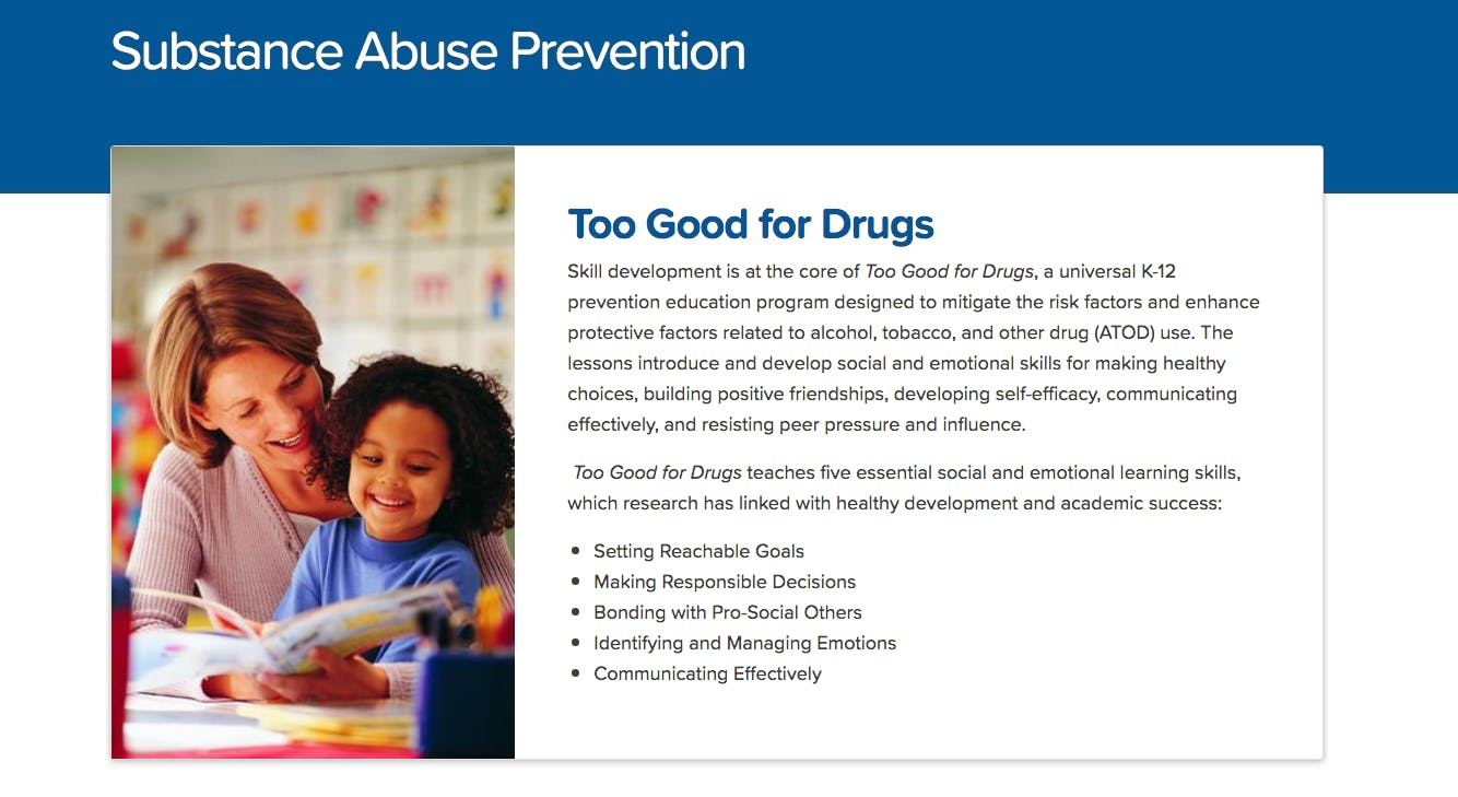 FREE Too Good for Drugs & Violence Highschool Training