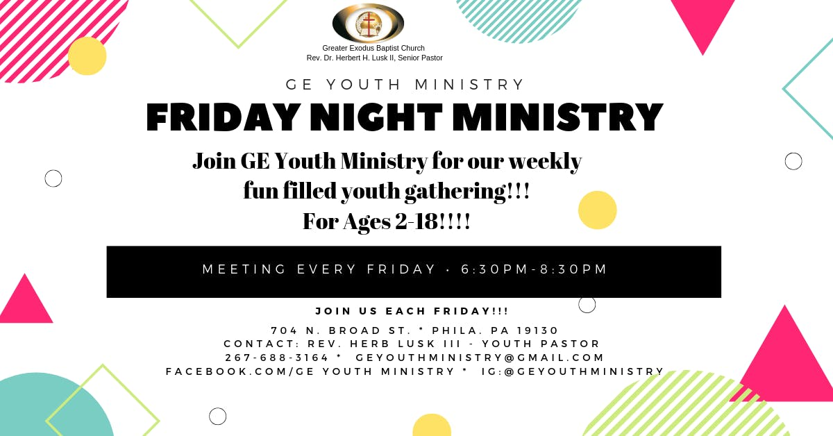 GE Youth Ministry presents Friday Night Youth Ministry!!!