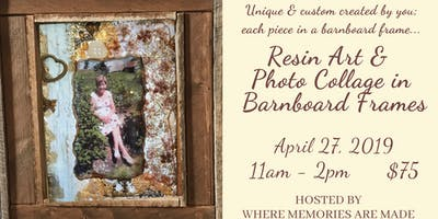 Resin Collage in Barnboard Frame