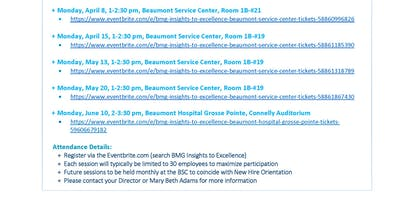 BMG Insights to Excellence - Beaumont Service Center