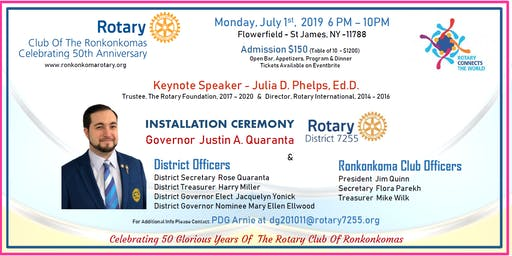Rotary District 7255 - Ronkonkoma RC 50th Anniversary -  DG Justin Quaranta