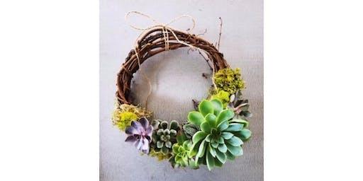 6/20 - Sip & Succulent Grapevine Wreath @ Bridge Press Cellars, SPOKANE
