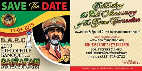 2019 DARC Ethiophile Banquet & RasTafari Meritorious Awards tickets