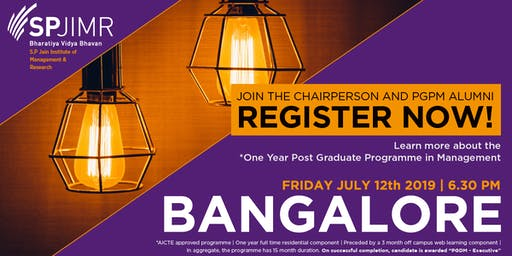 S.P.Jain Institute of Management & Research - PGPM Info Session - Bangalore