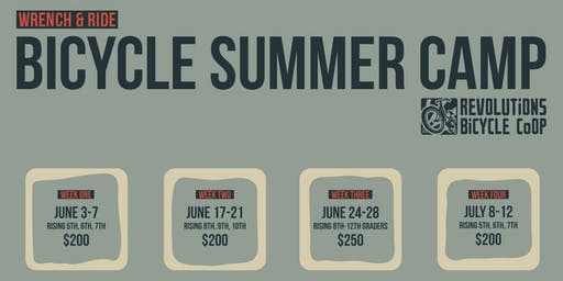 Wrench & Ride Bicycle Summer Camp 2019 - Grades 5,6,7