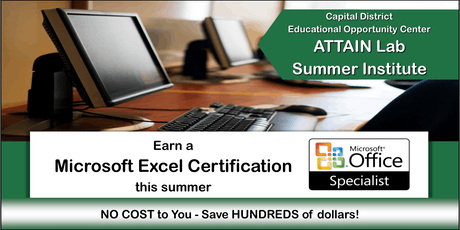 Microsoft Excel Training - Summer Institute (July 8th—26th) Troy, NY tickets