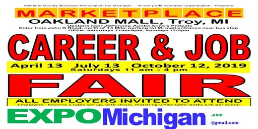 FREE:  Career & Job Fair - Employers Wanted: MARKETPLACE, Oakland Mall, Troy  July 13, October 12, 2019