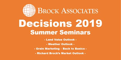 Brock Associates - Decisions Summer Seminars - Willmar MN tickets