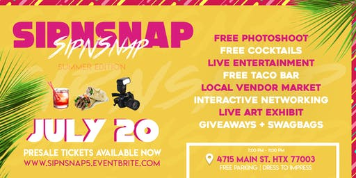 FREE PHOTOSHOOT+ FREE COCKTAILS & BUFFET  #SipNSnap Networking With A Twist