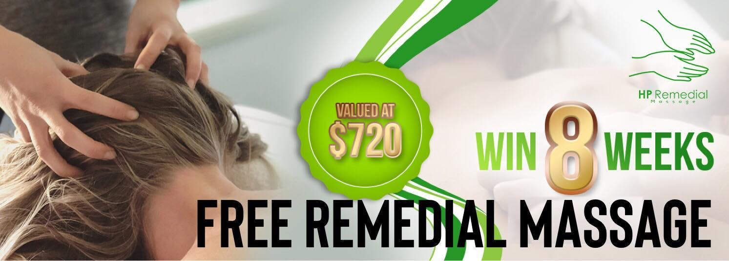 Win 8 weeks FREE Remedial Massage Valued at 720