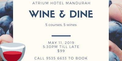 Wine & Dine at the Atrium Hotel, featuring Margaret River\