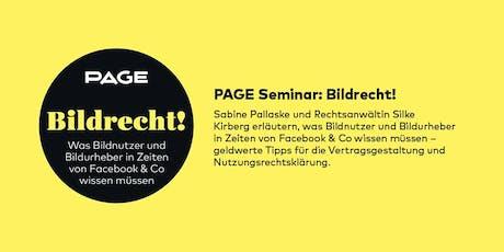 PAGE Seminar »Bildrecht!« mit Sabine Pallaske und Silke Kirberg Tickets