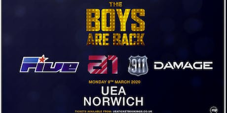 The boys are back! 5ive/A1/Damage/911 (UEA, Norwich) tickets