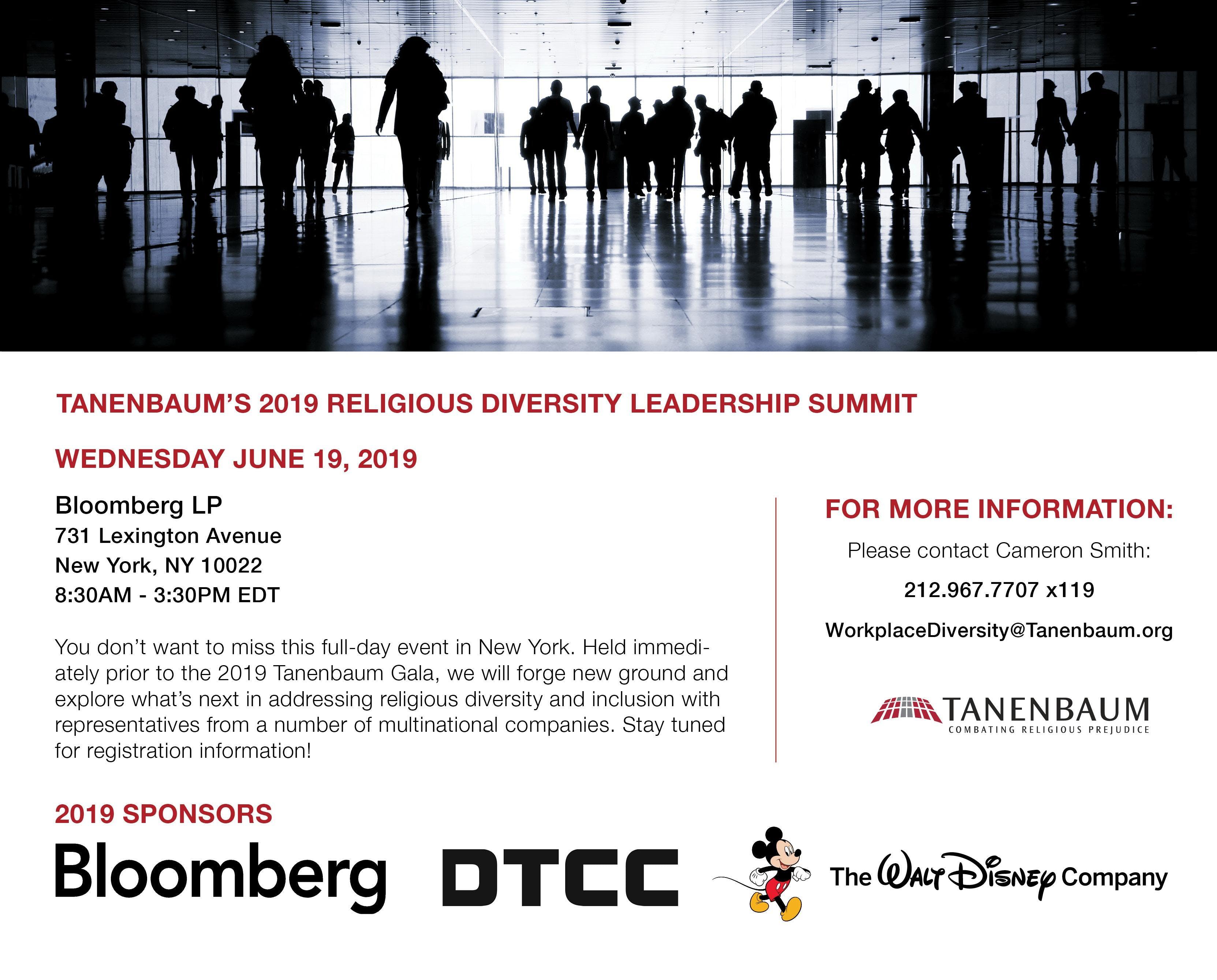 Tanenbaum's 2019 Religious Diversity Leadership Summit