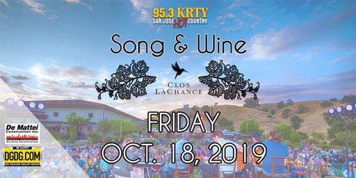 95.3 KRTY and DGDG.com Present the 2019 Song and Wine Series Friday October 18
