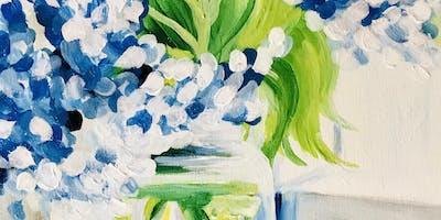 #2- Blue Hydrangeas - Acrylic Painting Class - Kannapolis
