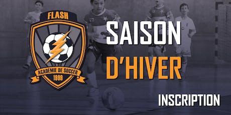 Inscription (Académie de soccer)(U7-U8)(Vendredi 19h00) - Saison d'Hiver 2019-2020 (2013-2012) (20 séances) billets