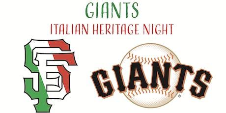 Giants Italian Heritage Night tickets