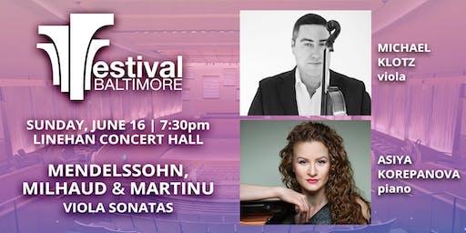 FESTIVAL BALTIMORE Concert 2: MENDELSSOHN, MILHAUD & MARTINU viola sonatas