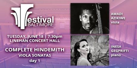 FESTIVAL BALTIMORE Concert 3: COMPLETE HINDEMITH viola sonatas, day 1 tickets