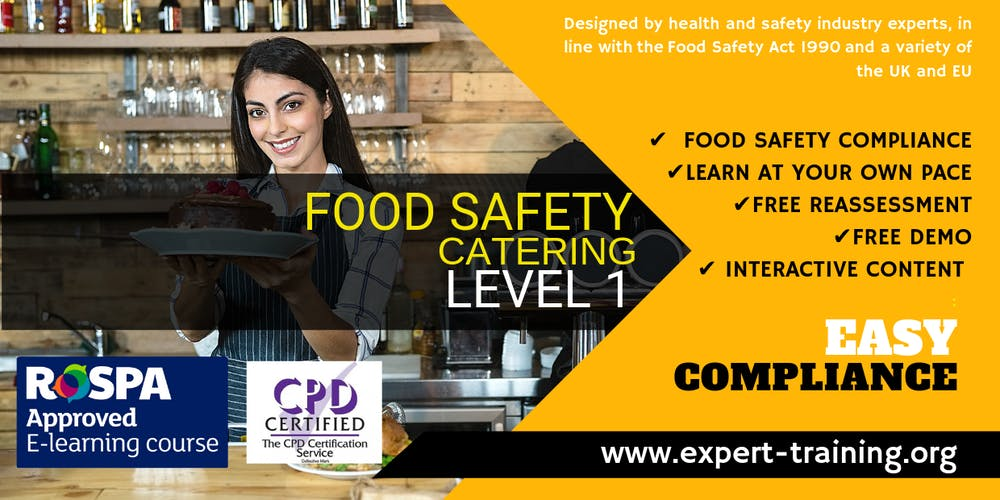 Food Safety Course – Catering (Level 1)/ RoSPA and CPD Approved