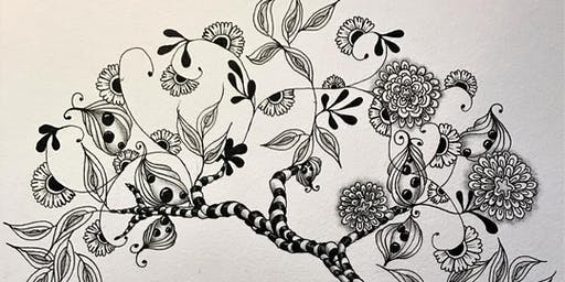 Tangle with Lynne Zentangle® Tree of Life class with wine tasting