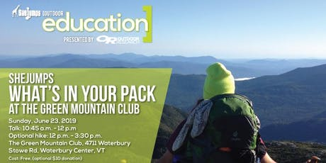 SheJumps What's In Your Pack at the Green Mountain Club tickets