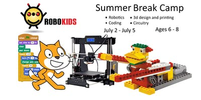 Robokids Day-camp: WeDo Robotics, 3D Modeling, Circuits, and Coding (ages 6-8)