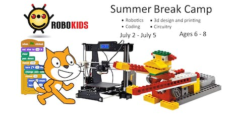 Robokids Day-camp: WeDo Robotics, 3D Modeling, Circuits, and Coding (ages 6-8) tickets