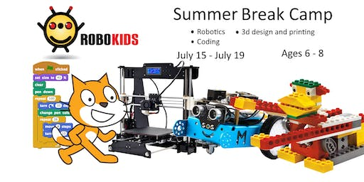 Robokids Day-camp: mBot Robotics, 3D Modeling, WeDo Robotics, and Coding (ages 6-8)