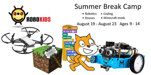 Robokids Day-camp: mBot Robotics, Minecraft, Drones, and Coding (ages 9-14)