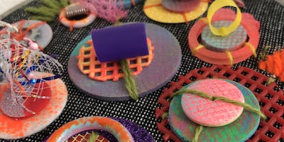 XO Stitch Club : Recycled Sequins & Fiber Collage Art