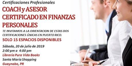 Reunion de Orientacion y Pre Matricula - CERTIFICACION COACH FINANCIERO tickets