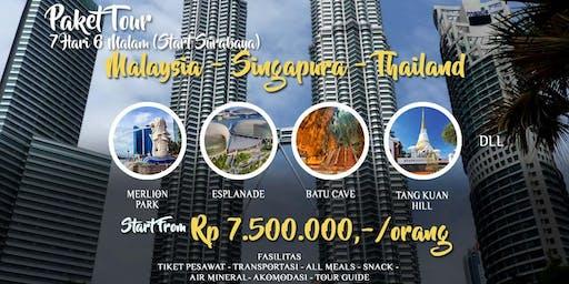 Paket Tour 3 Negara Singapura Malaysia Thailand dari Surabaya