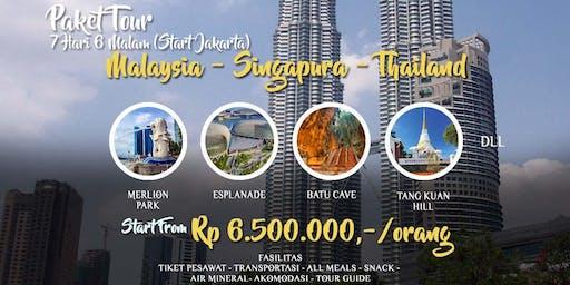 Paket Tour 3 Negara Singapura - Malaysia - Thailand dari Jakarta