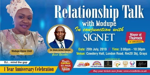 Relationship Talk show with Modupe. 1Yr. Anniversary Dinner Dance