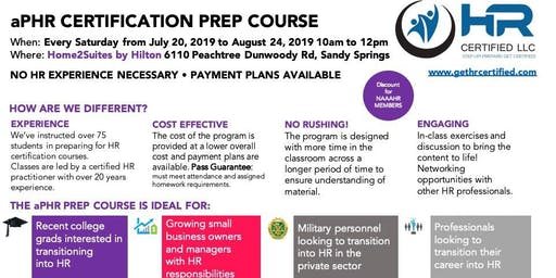 aPHR 6 Week Instructor Lead HR Certification Prep Course - Summer 2019