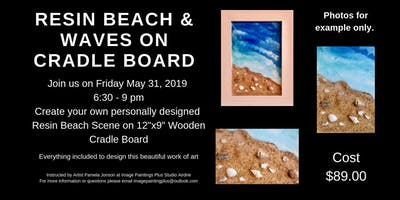 Resin Beach & Waves on Wooden Cradle Board