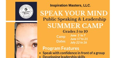 Speak Your Mind: Public Speaking and Leadership Summer Camp (June 3 to June 7) Coppell